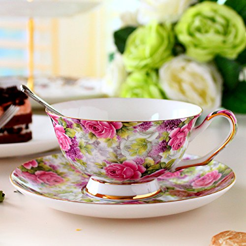 European-style coffee cup English afternoon tea cup bone China coffee cups and saucers,Pink Roses