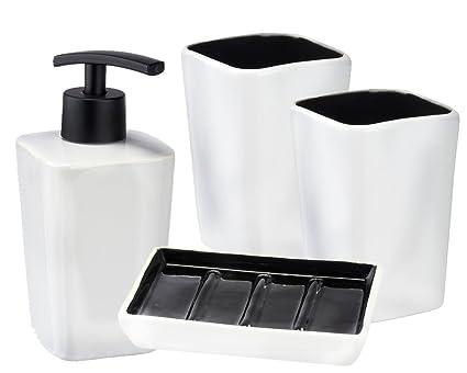 Wenko Jazz 4 Juego de baño y WC Juego 4 in1 2 Portacepillos 1 dispensador de