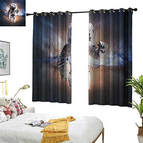 Warm Family Curtain tiebacks Astronaut,Floating Astronaut in Space Nebula Heavenly Bodies Star Systems Love Science, Multicolor 72
