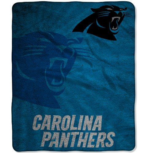 Blanket Nfl Football Fleece Team (The Northwest Company Officially Licensed NFL Carolina Panthers Strobe Sherpa on Sherpa Throw Blanket, 50