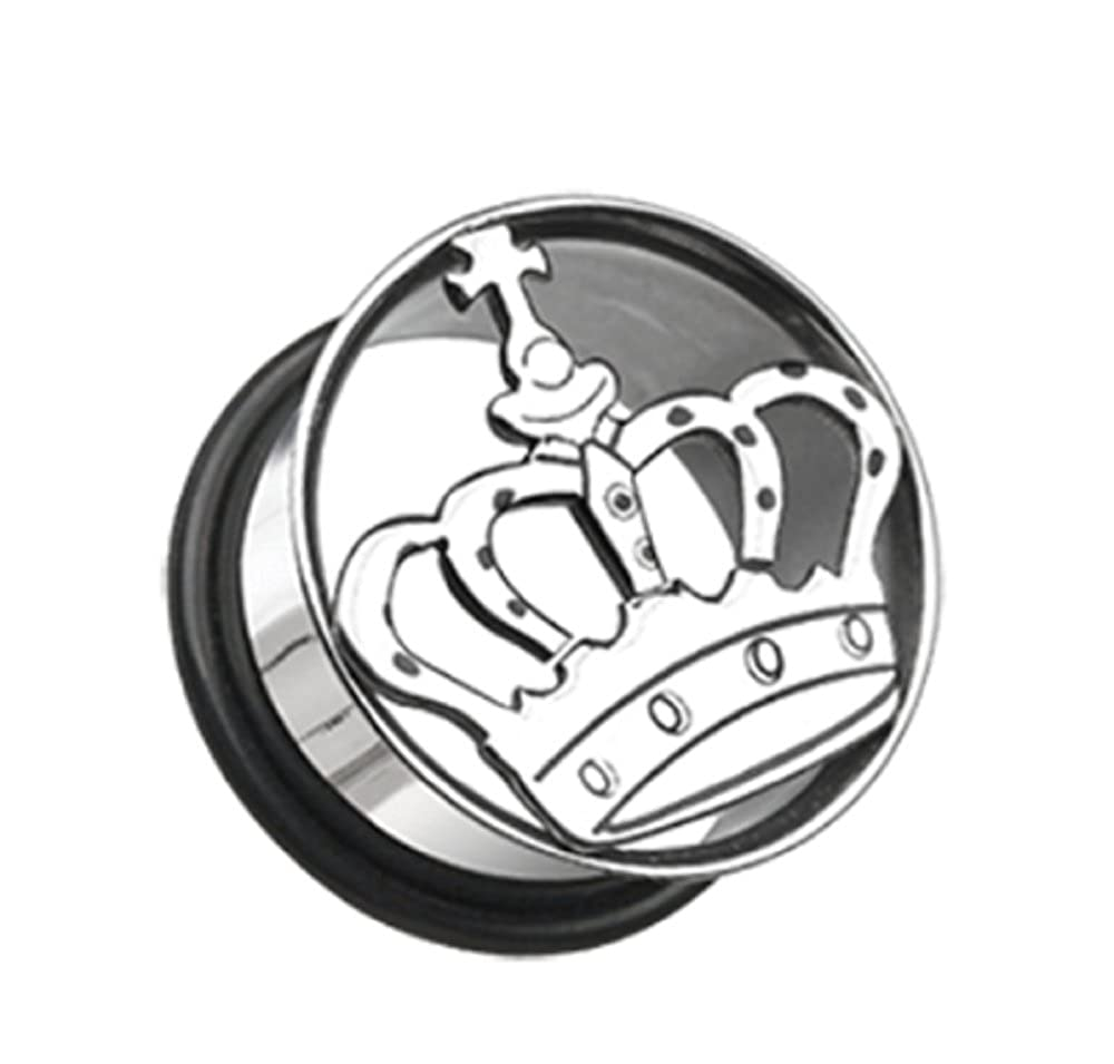 Sold by Pair Medieval Crown Hollow Steel Single Flared Ear Gauge Freedom Fashion Plug