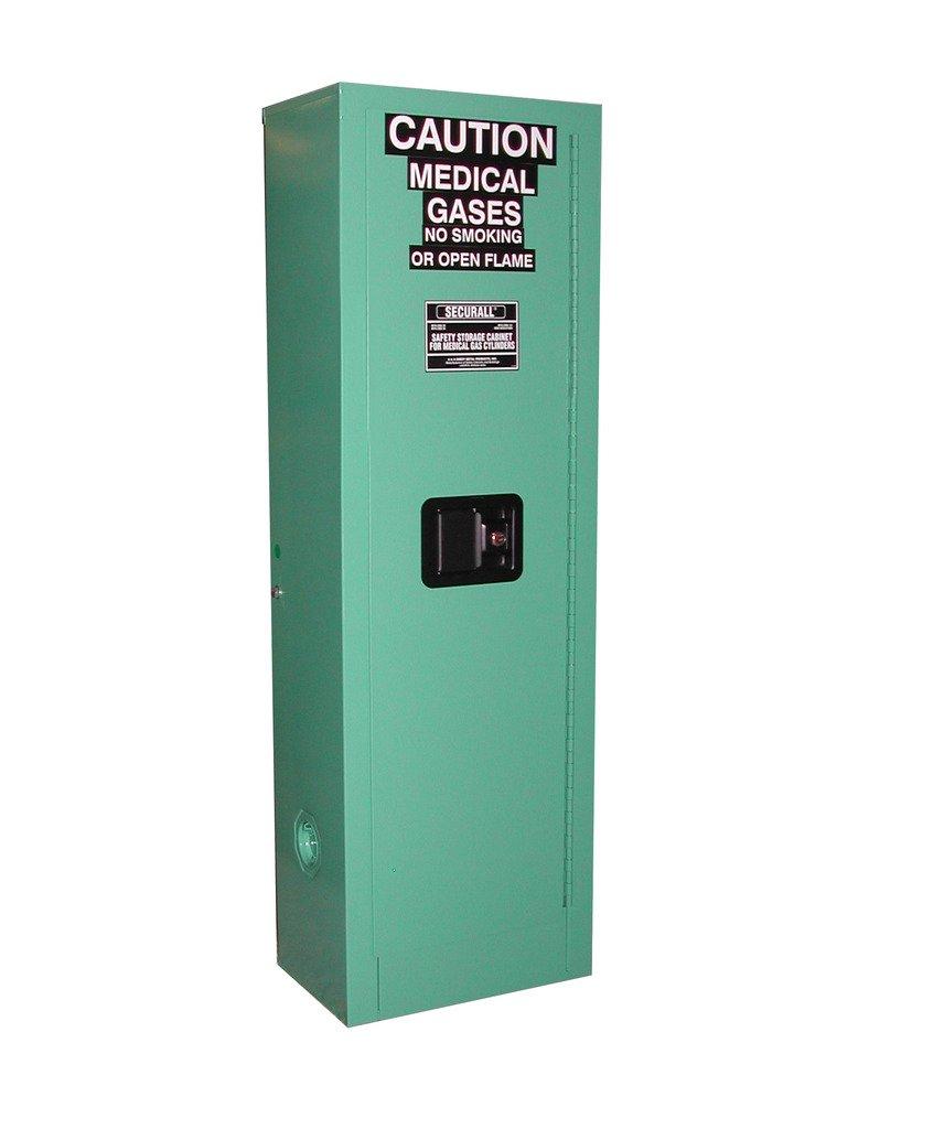 SECURALL MG102FL Medical Gas Cylinder Storage Cabinet, 18-Gauge Gal. Steel, 2-Door, 44 x 14 x 9 in, 1-2 D,E Cylinder Capacity, 15 YR WARRANTY - MG Green