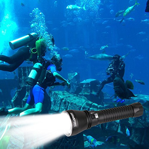 YDP-SPORT Powerful Underwater Waterproof Led Scuba Diving Flashlight Torch 4000 LM Ultra Bright Cree XHP70 LEDs for Scuba Snorkeling Canoeing Fishing Hiking Include Battery and Charger