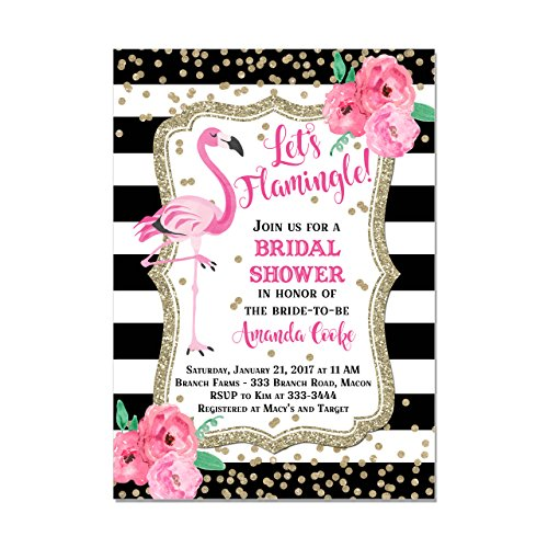 Flamingo Bridal Shower Invitation with Black and White Stripes & Watercolor Flowers, Set of 10 invitations with envelopes