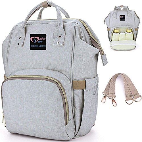 Diaper Bag Backpack for Baby from Mother Babee Offer Stylish Durable Waterproof Large Capacity & Easy to Travel and Clean with Changing Pad, Become The Most Prepared Mom Now! (Light Grey)