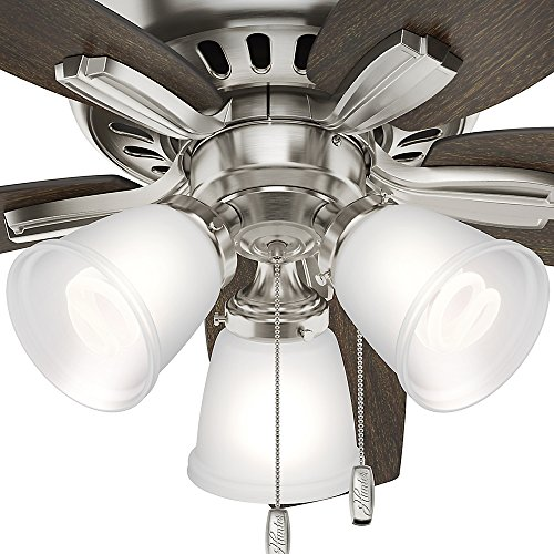 Hunter 51079 Hunter Newsome Low Profile with 3 Kit Ceiling Fan with Light, 42'', Brushed Nickel by Hunter Fan Company (Image #8)