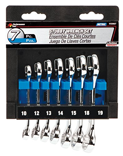 Performance Tool W30607 Full Polish Metric Stubby Wrench, 7-Piece, 1-Pack ()