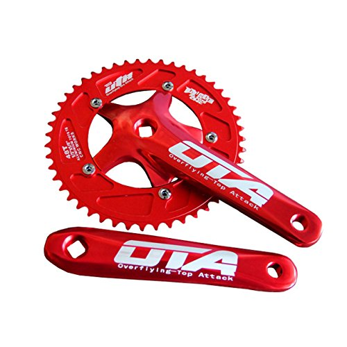 SENQI Bicycle Chain Wheel Fixed Gear 48T Aluminum Alloy CNC Cycling Racing Bike Accessories with Crank(red)