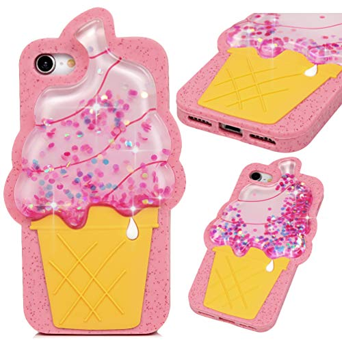 iPhone 7 Case, iPhone 8 Case(Not Plus), Pink Ice Cream Liquid Sparkle Glitter Diamond TPU Shell Bling Design for Girl Woman Gifts Quicksand Cute Star Flowing Cover for iPhone 7/8