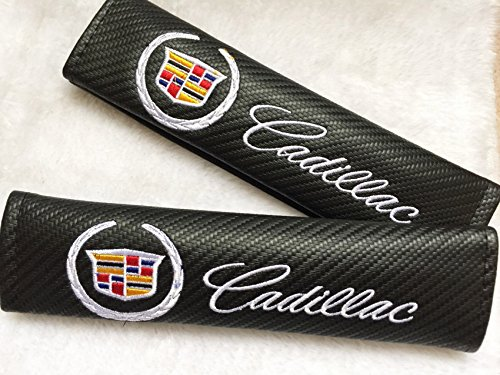 BENZEE 2pcs Cadillac Carbon Fiber Car Seat Belt Shoulders Pad Truck Cover For ATS CTS EXT SRX XTS XLR SEDAN ELR COUPE ESCALADE