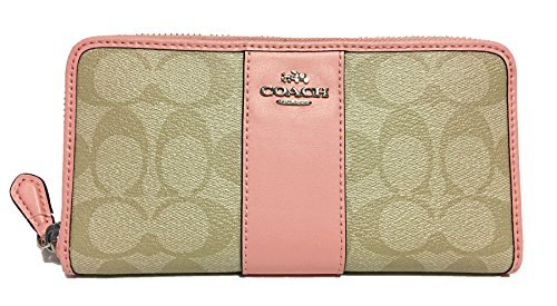 COACH ACCORDION ZIP WALLET IN SIGNATURE COATED CANVAS WITH LEATHER STRIPE LIGHT KHAKI BLUSH f54630 by Coach