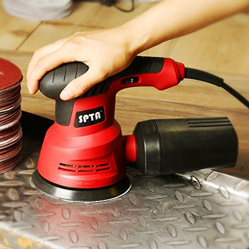 SPTA Random Orbit Sander, 2.4A 280W 5-Inch 6 Variable Speed Orbital Sander/Polisher Electric Sander,With 2 Polishing Buffing Pads and 12 Sanding Discs Kit for Home Decoration and DIY by SPTA (Image #8)