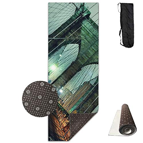 (Brooklyn Bridge Night Landscape Deluxe,Yoga Mat Aerobic Exercise Pilates Anti-Slip Gymnastics)