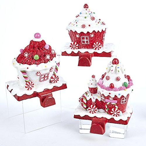 Kurt Adler RED AND WHITE CANDY TRAIN STOCKING HOLDER - 3 ASSORTED: 2 EACH RED AND 1 EACH WHITE