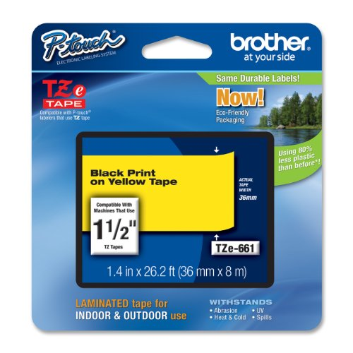 Brother Laminated Black on Yellow 1 1/2 Inch Tape - Retail Packaging (TZe661) - Retail Packaging
