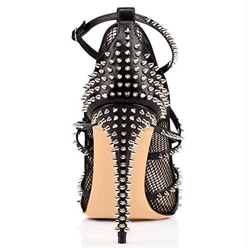 L@YC Tacones altos De Las Mujeres Pesca Netas Remache Sandalias De Color Desnudo Boca De Pescado Zapatos Individuales/Negro/amarillo Black