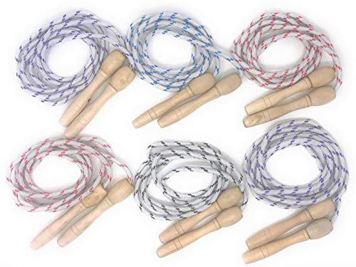 Toy Spout Jump Ropes – Solid Wood Handles Nylon Rope - Jump Rope Children, Outdoor Activities Kids – 6 Pack Assorted Colors by Toy Spout