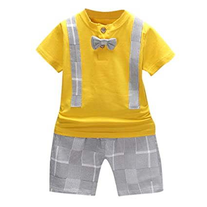 1c7e5ff92 Amazon.com: ❤ Mealeaf ❤ Toddler Baby Boys Bow T-Shirt Tops Plaid Shorts  Pants Outfits Clothes Set(6M-3Y): Home & Kitchen
