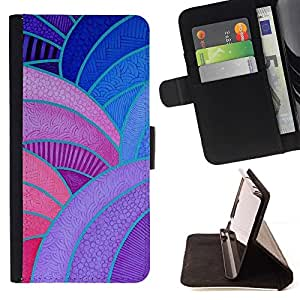 For Sony Xperia Z5 Compact Z5 Mini (Not for Normal Z5) Case , Lignes Peinture Vitrine Violet Rouge Bleu - la tarjeta de Crédito Slots PU Funda de cuero Monedero caso cubierta de piel