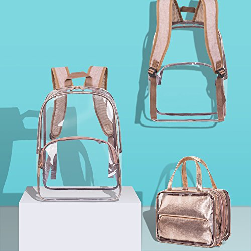 NiceEbag 6 in 1 Clear Backpack with Cosmetic Bag & Case, Clear Transparent PVC School Backpack Outdoor Bookbag Portable Travel Toiletry Bag Makeup Quart Luggage Organizer (Rose Gold) by NiceEbag (Image #7)