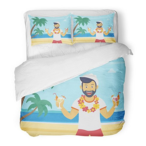 SanChic Duvet Cover Set Happy Young Man Enjoying Drinking Cocktails on The Beach Palm Trees Welcome to Sea Flat Decorative Bedding Set 2 Pillow Shams King Size by SanChic