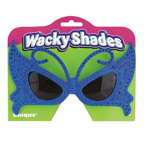 Blue Butterfly Glitter Novelty Glasses