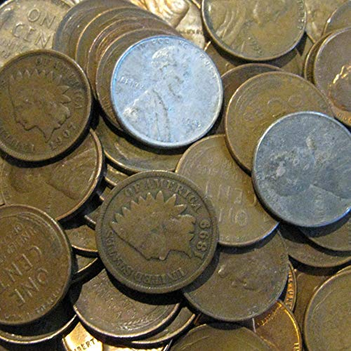 50 Old Coins with 46 Lincoln Wheat Pennies, 2 Indian Head Pennies and 2 Steel Wheat ()