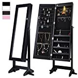 Cloud Mountain Mirrored Jewelry Cabinet Free-Standing Lockable Jewelry Armoire Full Length Floor Tilting Jewelry Organizer with Mirror and LED Light 4 Angle Adjustable Organizer Storage, Black