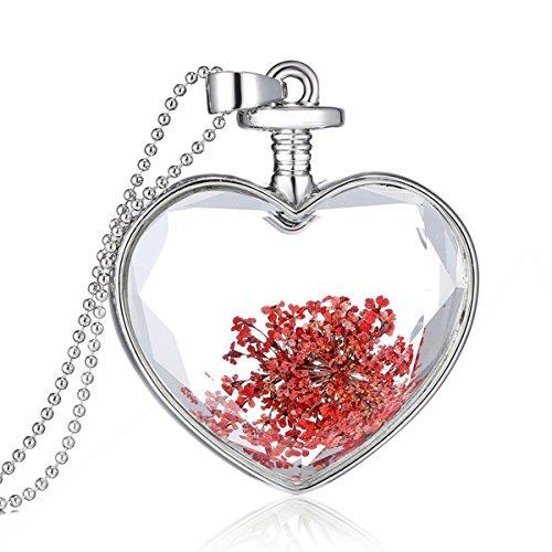(Zarabe Heart Shape Perfume Glass Wishing Bottle Pendant Colorful Pressed Flower Glass Necklace)