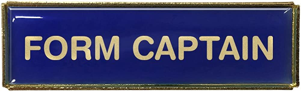 Gold Finish Form Captain Rectangle Polydome Budget Badge