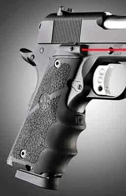 Hogue 45080 Laser Enhanced For 1911 Govt Model Black Rubber Grip Finger Grooves
