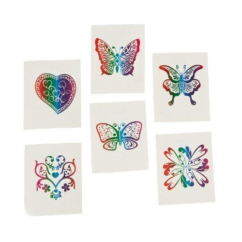 (Fun Express 72 Rainbow Glitter Temporary Tattoos/Party Favors Novelty)