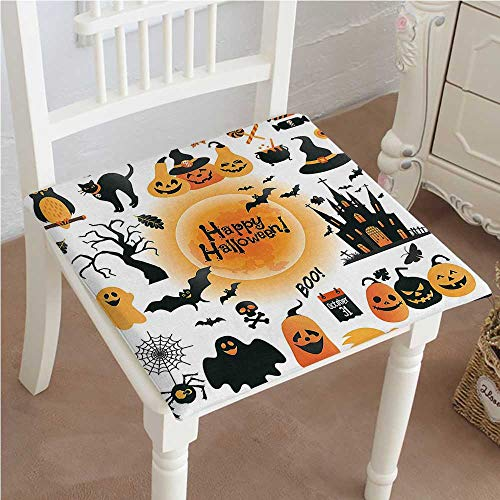 (Mikihome Chair Pads Classic Design All Hallows Day Objects Haunted and Trick or Treat Candy Orange Black Cotton Canvas Futon 18