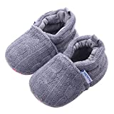 Beeliss Baby Loafers Winter Warm Knitted Cirb Shoes (0-6 Months, Grey)