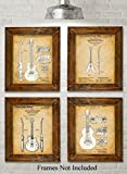 Original Gibson Guitars Patent Art Prints - Set of Four Photos (8x10) Unframed - Great Gift for Guitar Players