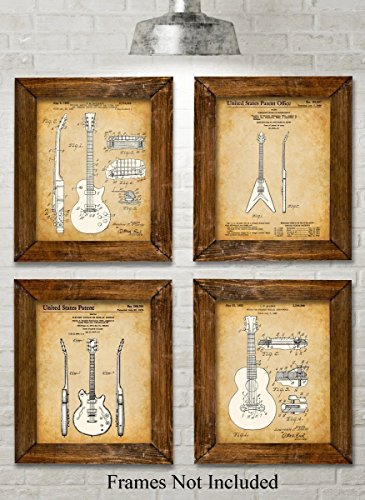 Original Gibson Guitars Patent Art Prints - Set of Four Photos (8x10) Unframed - Great Gift for Guitar Players (Brown Photo Crystal)