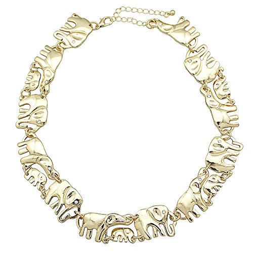 (Q&Q Fashion Gold Tone African Elephant Family Charms Link Ganesh Chain Collar Statement Bib Necklace )