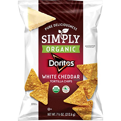 Simply Organic Doritos White Cheddar Flavored Tortilla Chips, 7.5 Ounce