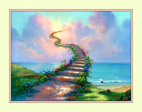 Rainbow Bridge All Pets Go to Heaven 11x14 Matted Art Print Pet and Poem Sympathy Memorial Stairway to Heaven