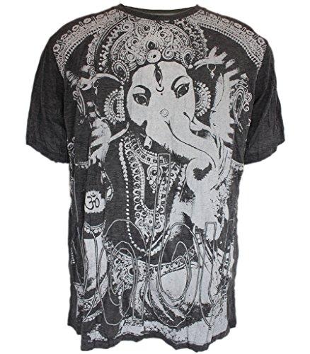 Yoga Shirts - Omtimistic Men's Hindu Ganesh 'Elephant God & Om Symbol' T-Shirt - Medium (Gangster Outfits For Men)