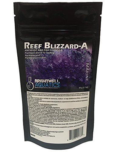 Brightwell Aquatics Reef Blizzard-A Powdered Planktonic Food Blend for Anemones & Planktivorous Fishes, 50g (Anemone Pouch)