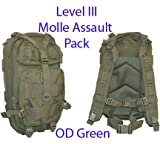 Level III LV3 Molle Assault Pack Backpack–OD GREEN, Outdoor Stuffs