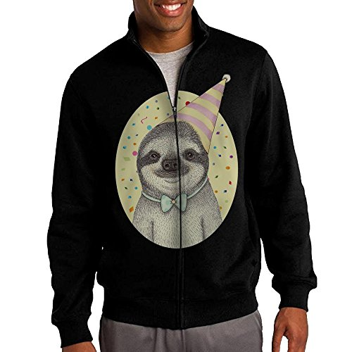 Crayola Logo For Costume (Men's Birthday Sloth Solid Stand Collar Zipper Jacket Size M)