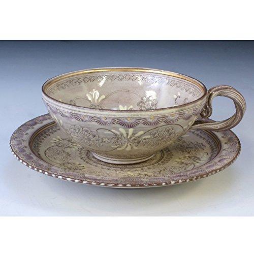 Kiyomizu-kyo yaki ware. Coffee teacup and saucer shisaikamon with paper box. Ceramic. kymz-CTC512