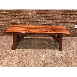 Rustic Log Bench Pine and Cedar with Live Edge Furniture (3', HP)