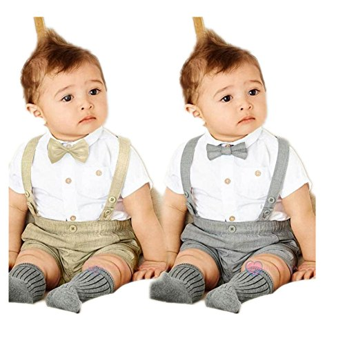 Newborn Toddler Baby Boys T-Shirt+Overalls+Bow Tie Outfits Set Suit Clothes by XILALU (18M, Brown)