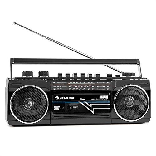 auna Duke Boombox Radiorekorder (USB-SD-Slot, Bluetooth, Kassettendeck, FM-Radio, tragbar, im 80er Jahre Retro-Design) schwarz