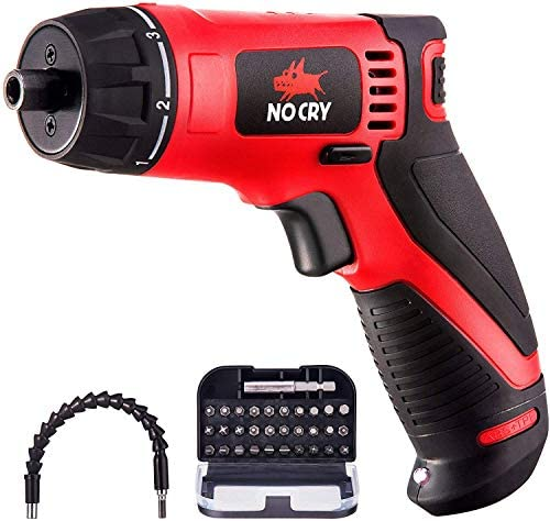 NoCry 10 N.m Cordless Electric Screwdriver – with 30 Screw Bits Set, Rechargeable 7.2 Volt Lithium Ion Battery, 2 Extension Drivers, and a Built-In LED Light