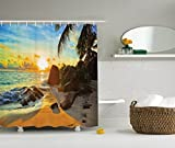 picture sun shade - Ambesonne Seaside Decor Collection, Colors of Sunset Sun Rays Palm Trees Stones Shadows Shades Waterscape Picture, Polyester Fabric Bathroom Shower Curtain, Ivory Blue Gold