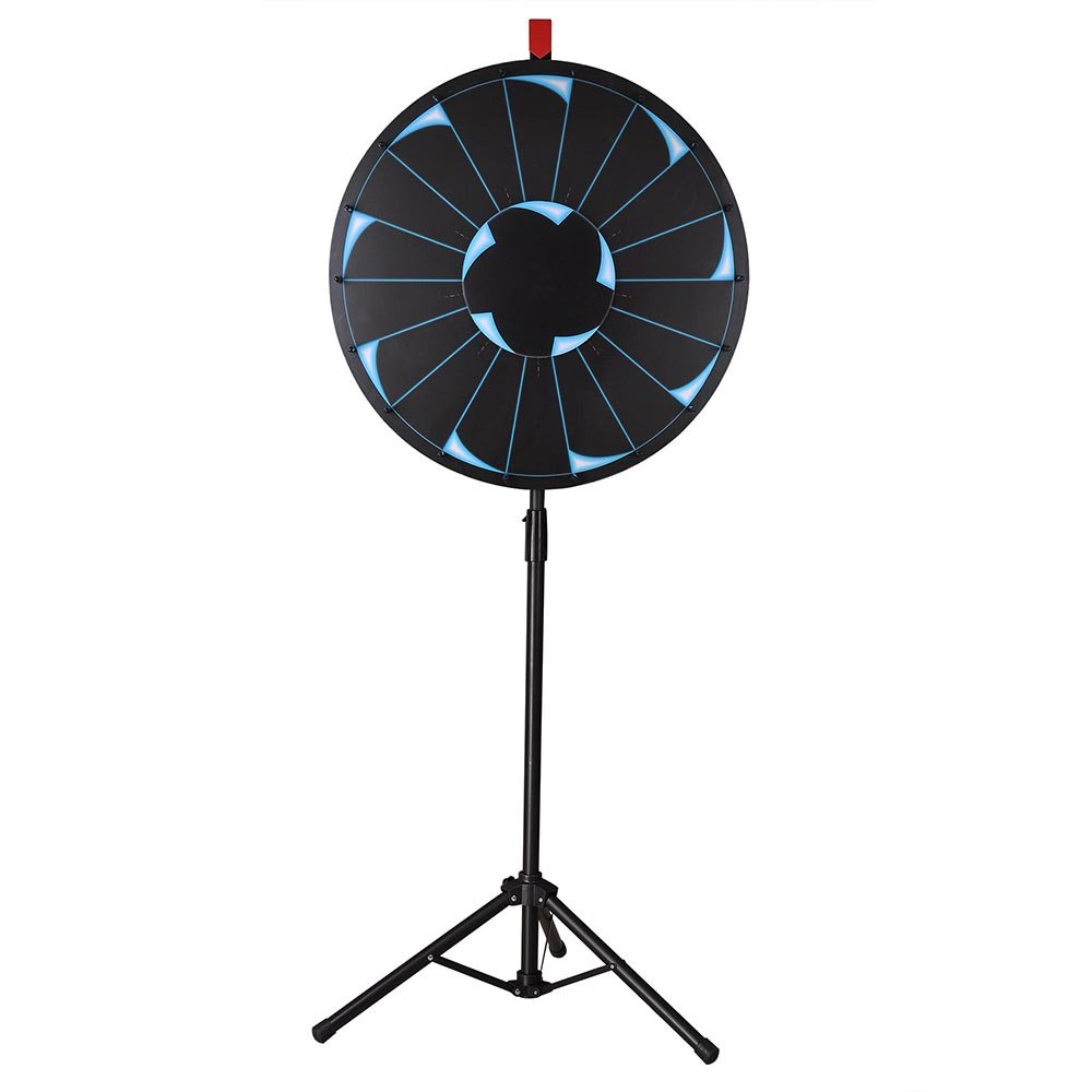 WinSpin 24'' Editable Prize Wheel of Fortune 18 Slot Floor Stand Tripod Spinning Game Tradeshow Carnival